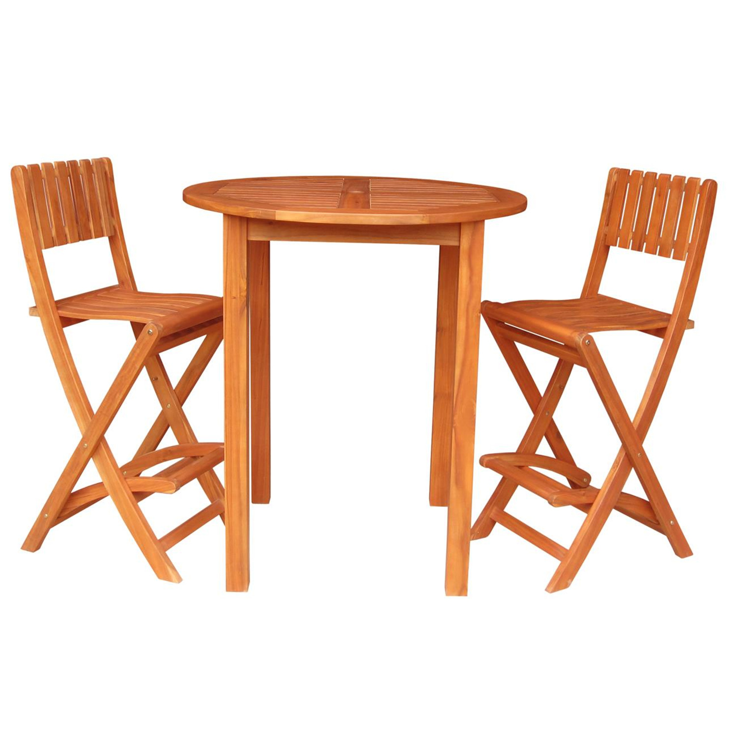 bar height round table with 2 folding stools ojcommerce. Black Bedroom Furniture Sets. Home Design Ideas