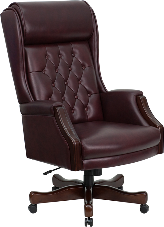 high back traditional tufted burgundy leather executive office chair - Tufted Desk Chair