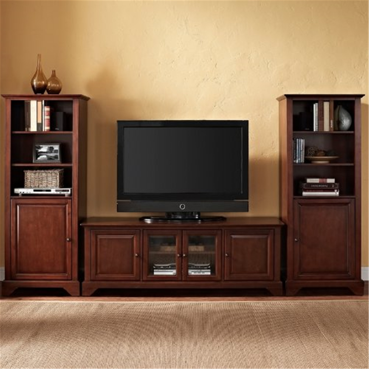 """Crosley LaFayette 60"""" Low ProfileTV Stand and Two 60"""" Audio Piers Mahogany at Sears.com"""