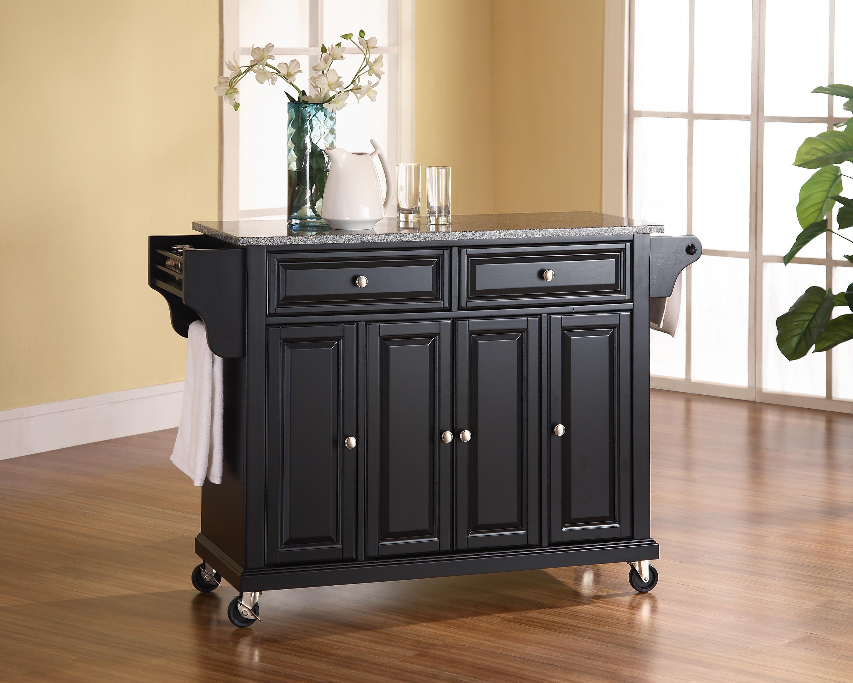 Image Is Loading Crosley Solid Black Granite Top Kitchen Cart Island