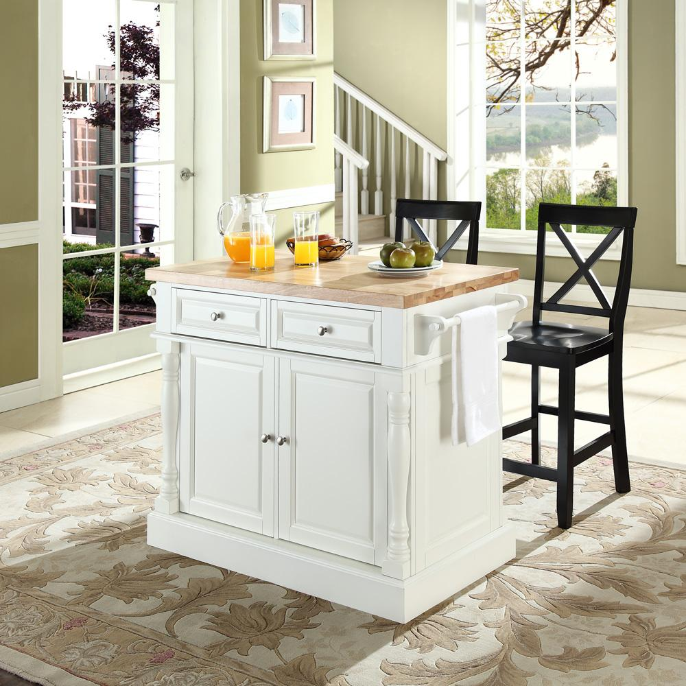 Butcher Block Top Kitchen Island with 24