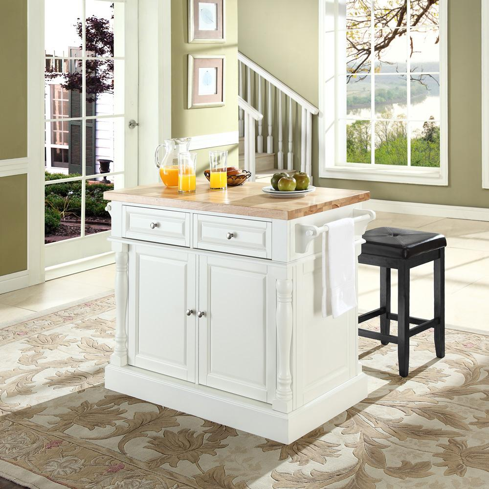 portable kitchen island with seating crosley butcher block top kitchen island with 24 quot upholstered square seat stools by oj commerce 9414