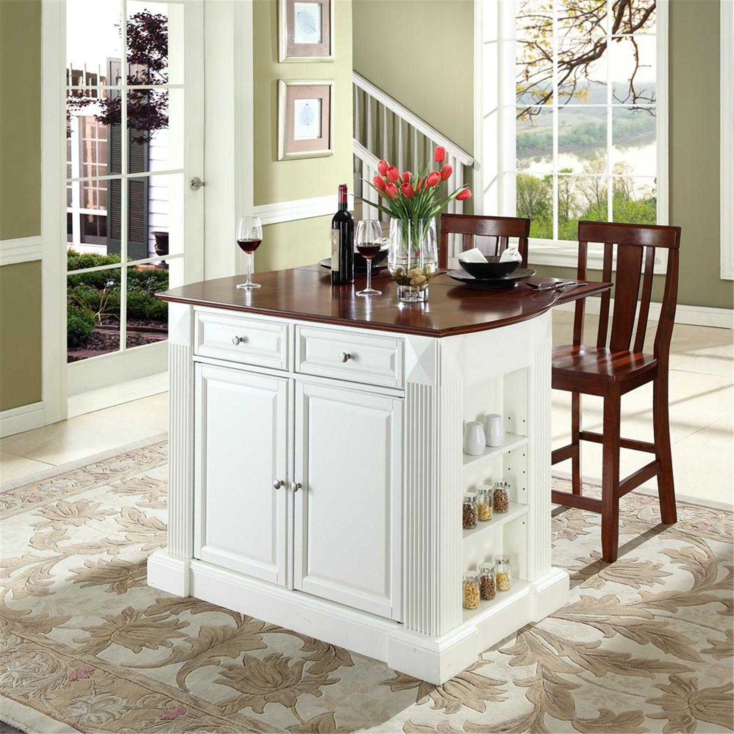 "Crosley Drop Leaf Breakfast Bar Top Kitchen Island with 24"" Shield Back Stools White at Sears.com"