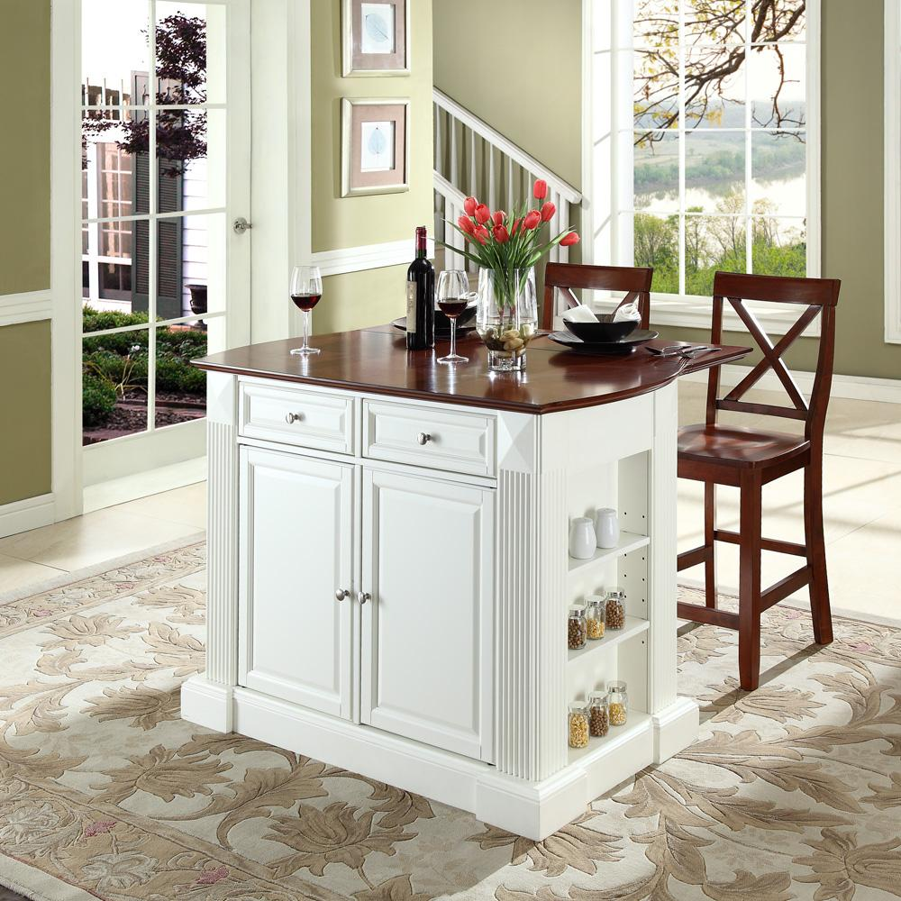 Crosley kf300073bk drop leaf breakfast bar top kitchen for Small kitchen eating area ideas