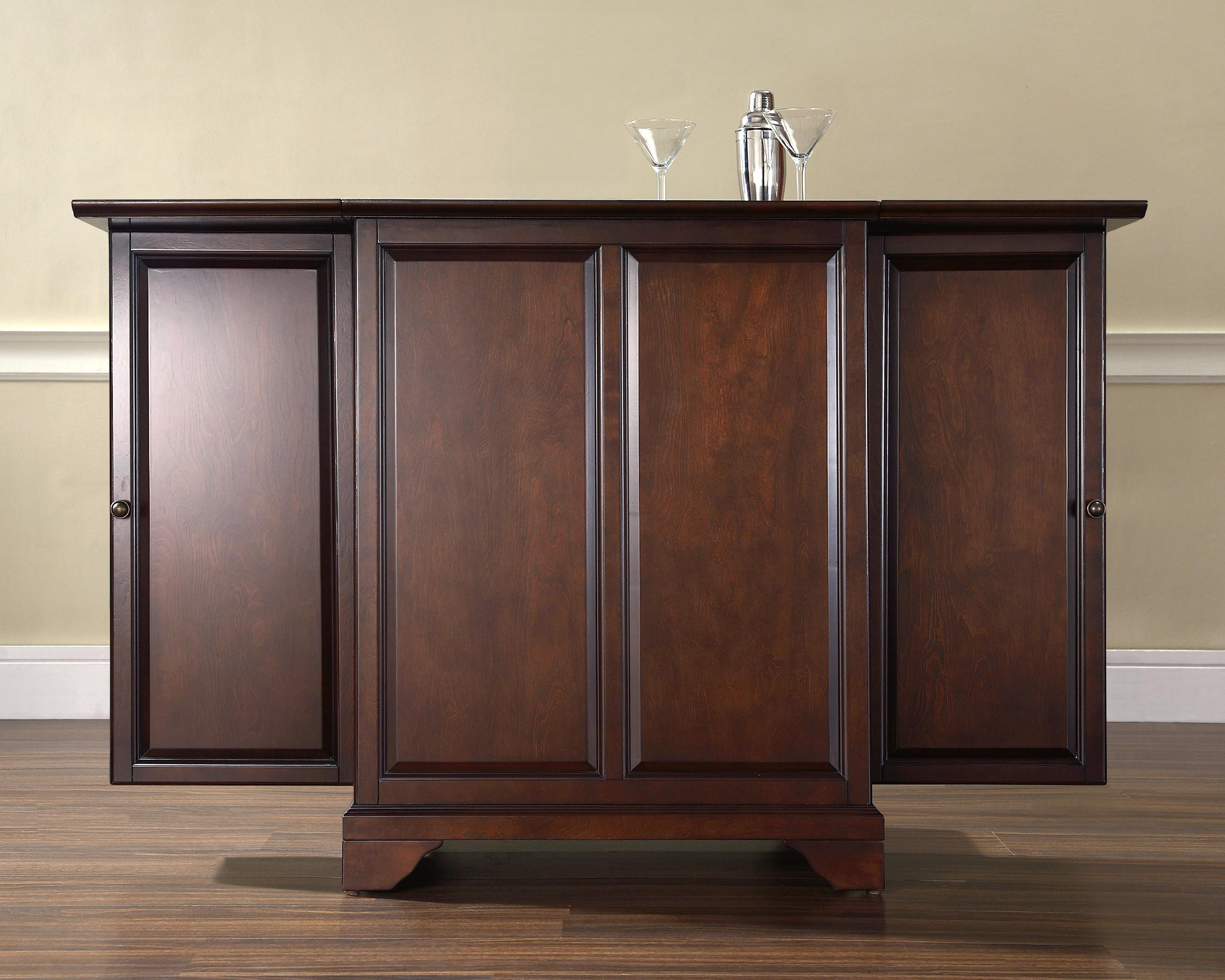 Crosley Lafayette Expandable Bar Cabinet In Vintage Mahogany Finish