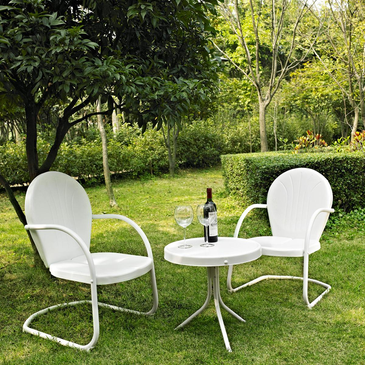 Crosley Griffith 3 Piece Metal Outdoor Conversation Seating Set Two Chairs With Side Table By