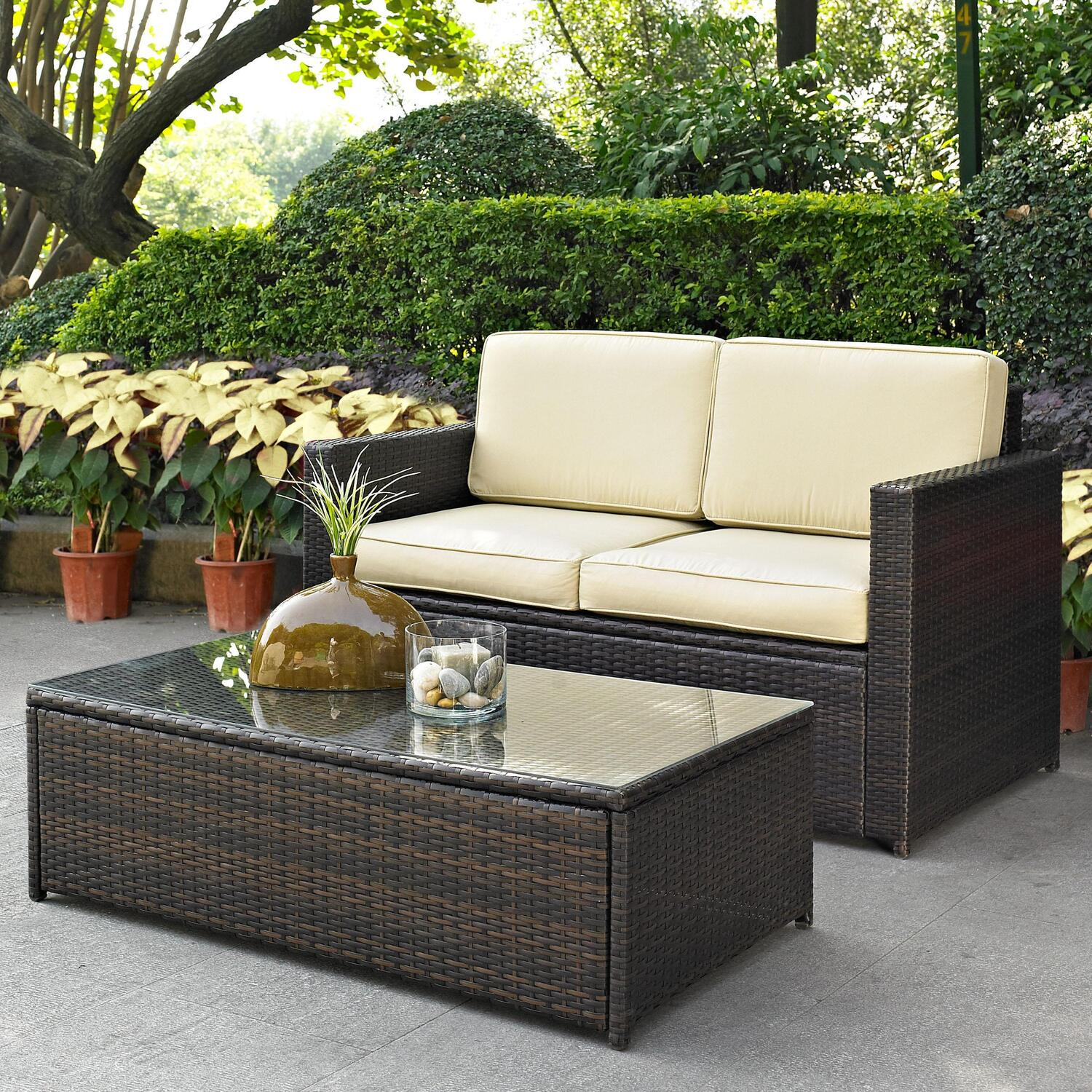 Palm Harbor 2 Piece Outdoor Wicker Seating Set Loveseat & Glass