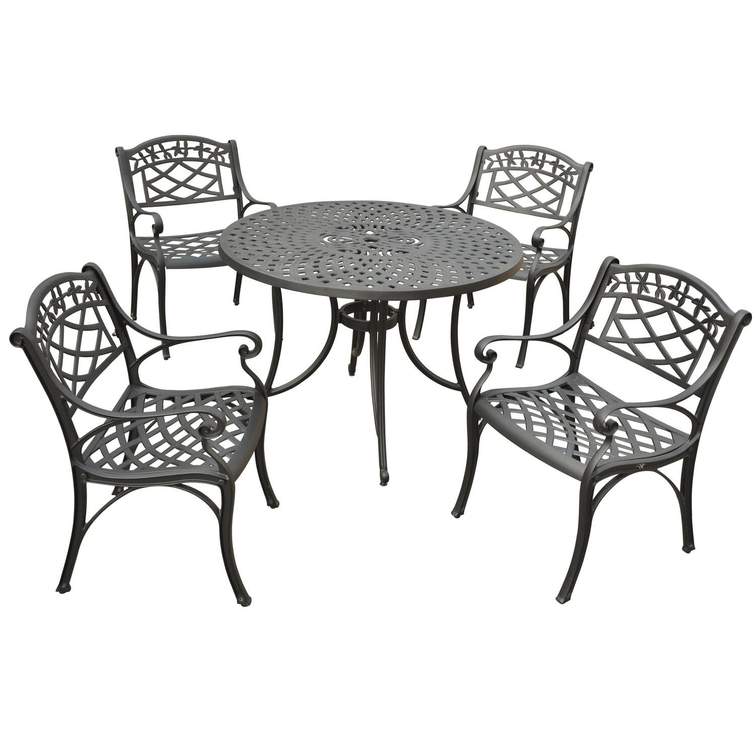 Crosley Sedona 42 Five Piece Cast Aluminum Outdoor Dining Set With Arm Chairs In Black Finish 1036 35 Ojcommerce
