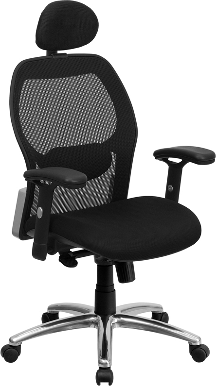 Flash Furniture High Back Super Mesh Office Chair With Black Fabric Seat And