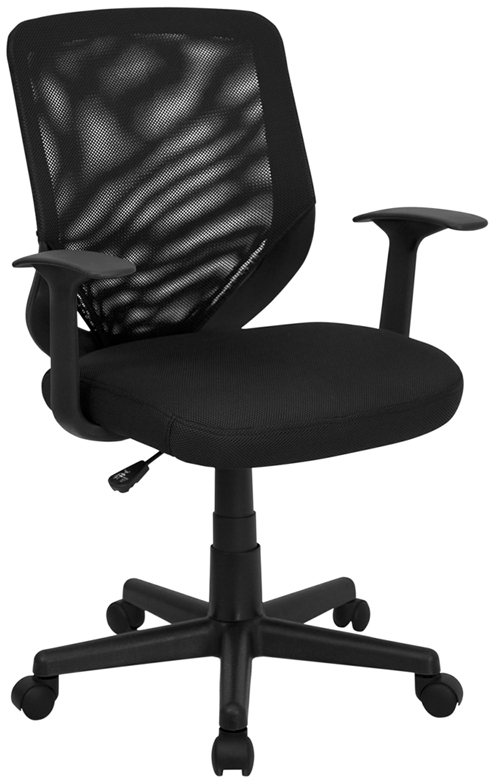 Flash Furniture Mid Back Black Mesh Office Chair With Mesh Fabric