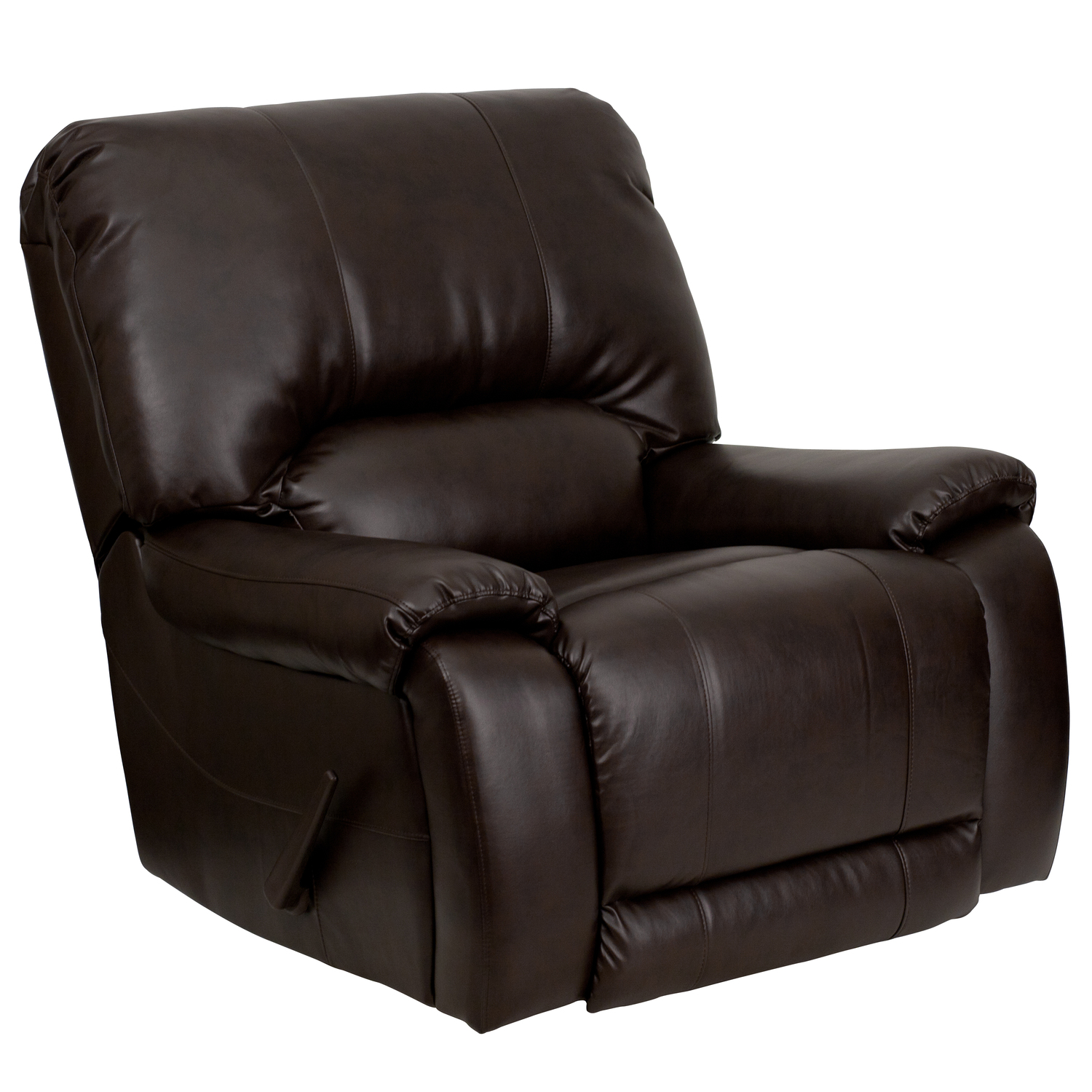 Overstuffed Brown Leather Lever Rocker Recliner Ojcommerce
