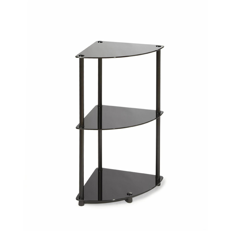 Convenience concepts r2 222 classic glass 3 tier corner shelf
