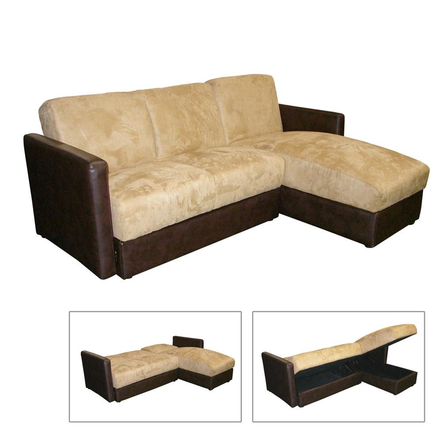 Ore international r8116cc sofa bed with storage for Sectional sleeper sofa with storage and pillows