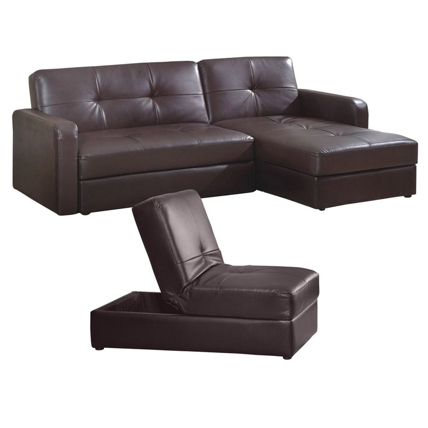 ORE International R8117BRN37 Leather Sofa Bed Set With Storage