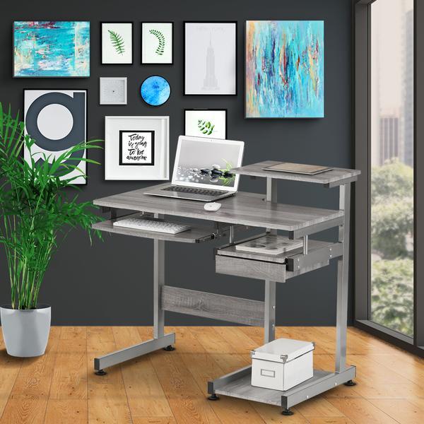 Techni Mobili Complete Computer Workstation Desk Gray