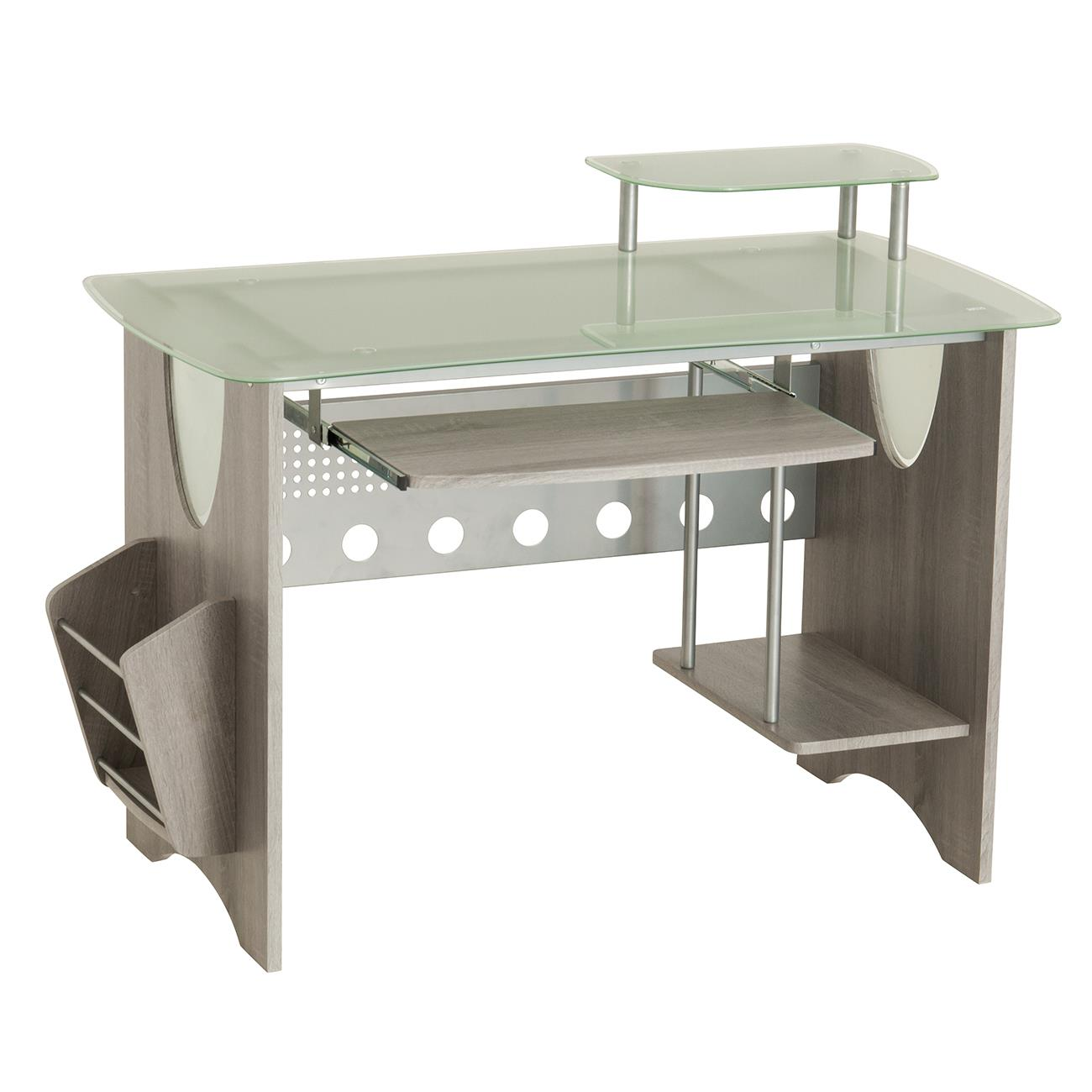 Techni Mobili Stylish Frosted Gl Top Computer Desk With Storage Grey