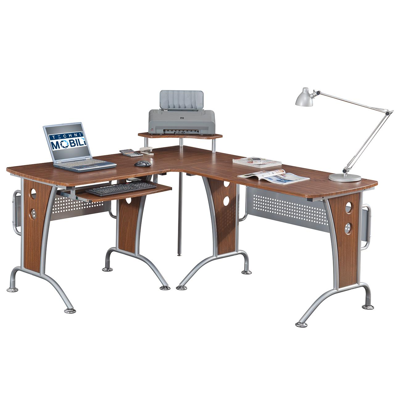 Techni Mobili Deluxe L Shaped Tempered Frosted Glass Top Computer Desk With Pull Out Keyboard Panel From 159 99 To 269 Ojcommerce