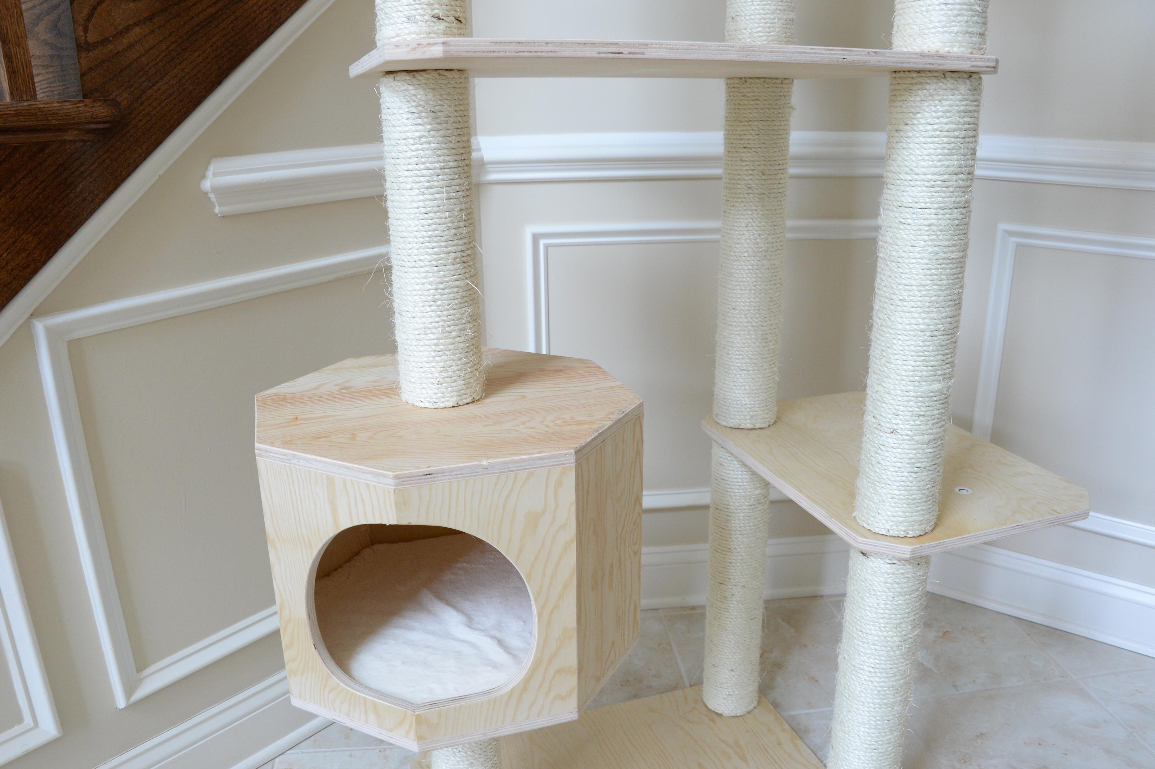 New design armarkat solid wood cat tree condo furniture for Wooden cat tree designs