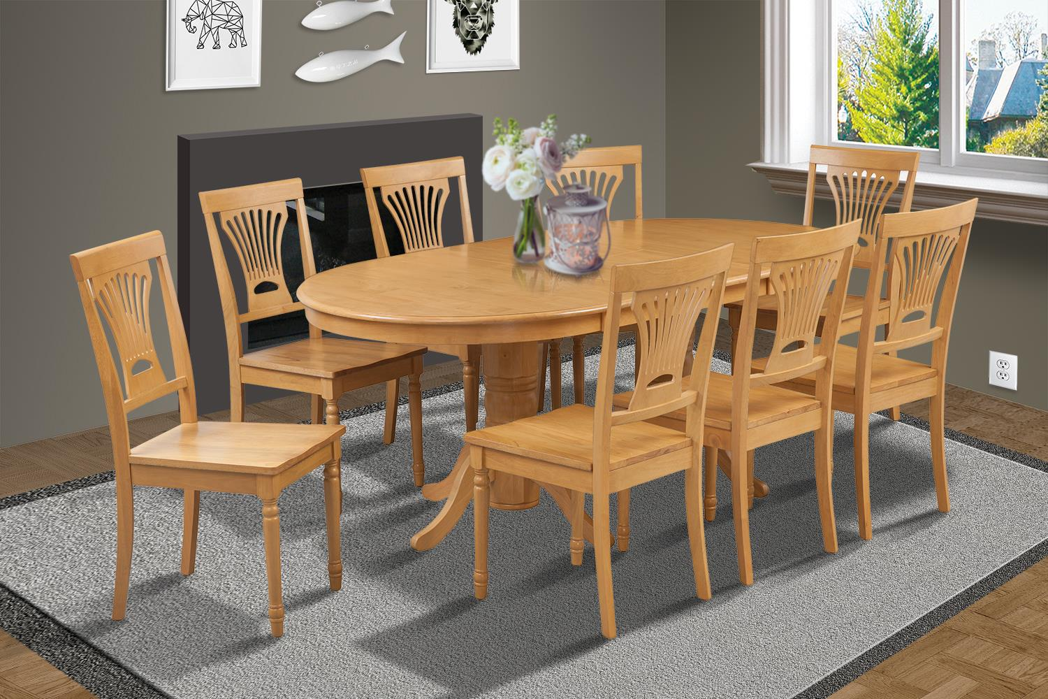 9 piece dining room set table with a butterfly leaf and 8 dining chairs ojcommerce. Black Bedroom Furniture Sets. Home Design Ideas