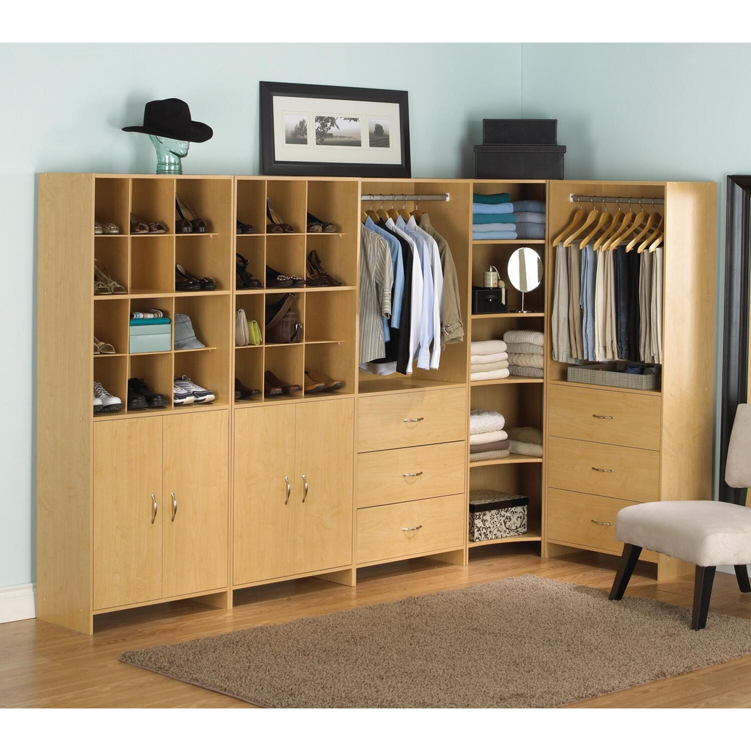 set as brown clothing hanging slanted open personal shelving for popular well drawers space admirable granite with tower racks combined storage unit table plus wooden ideas also towel top walk island featuring square and in shoes closet