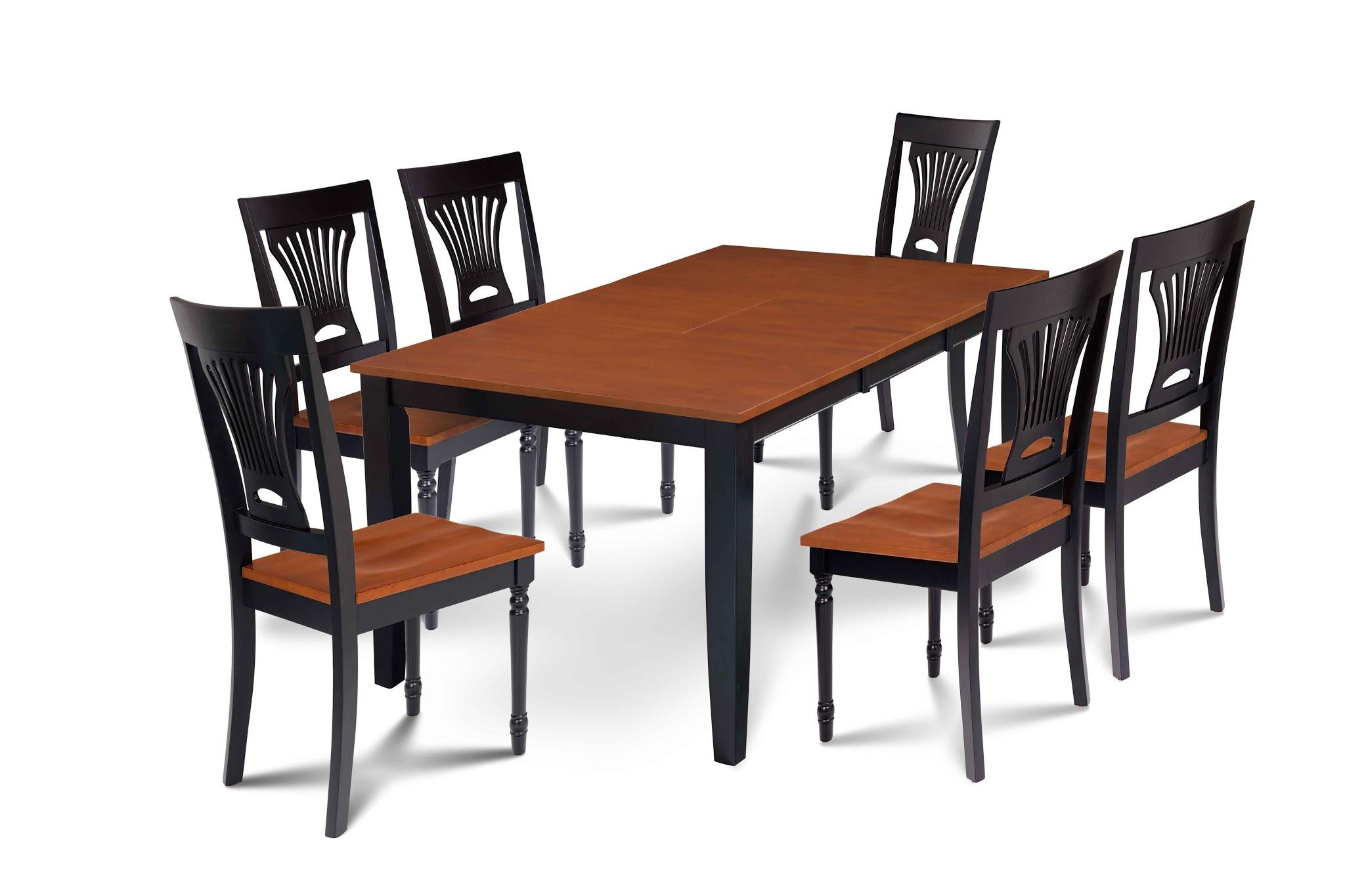 7 Piece Dining Room Set Table With A Butterfly Leaf And 6 Dining Chairs,  Black/Cherry, Rectangular
