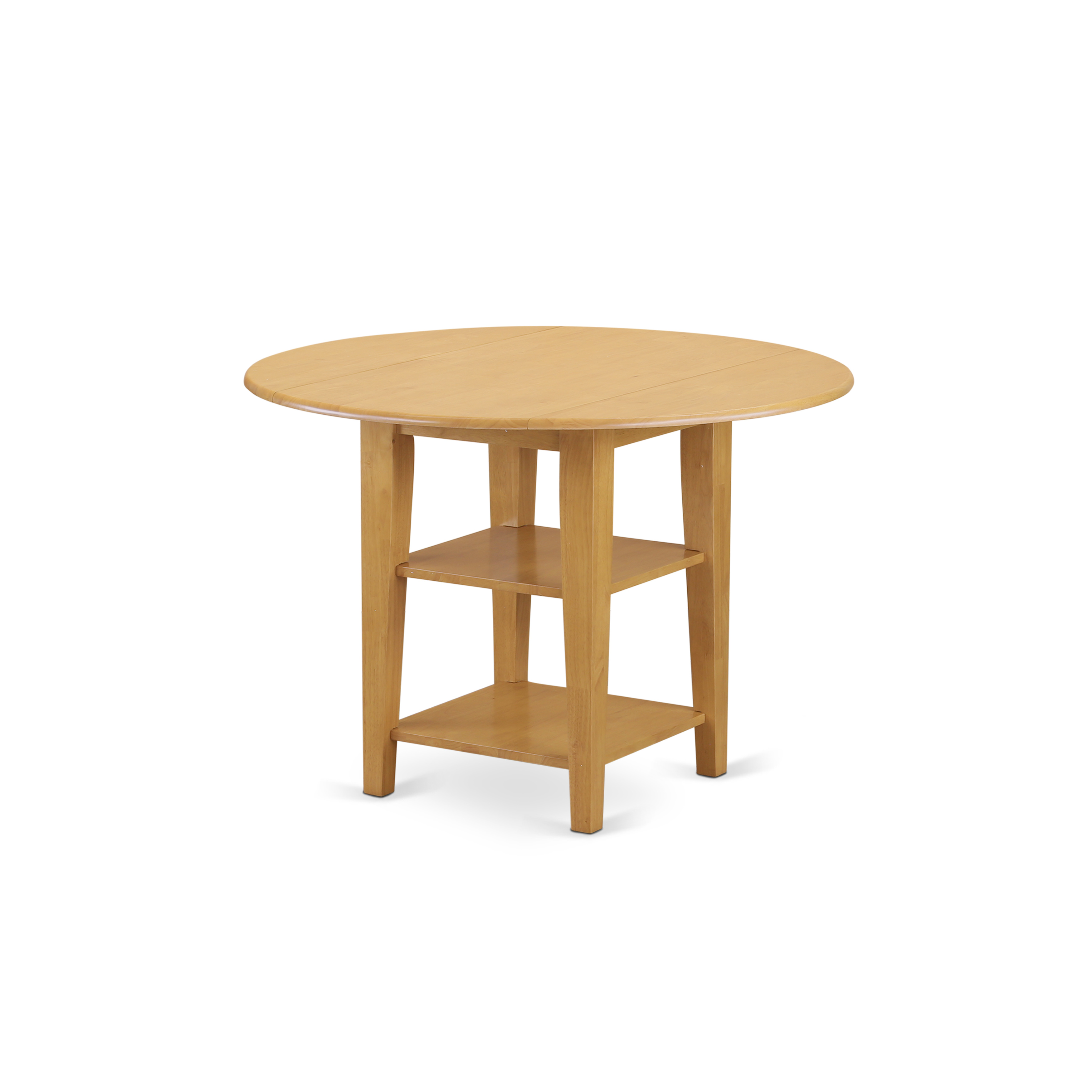 East West Furniture Sudbury round Kitchen Table with two shelves in Oak  finish, Oak