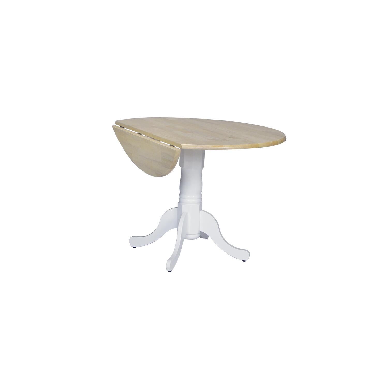 International Concepts 42 Round Dual Drop Leaf Ped Table By OJ Commerce