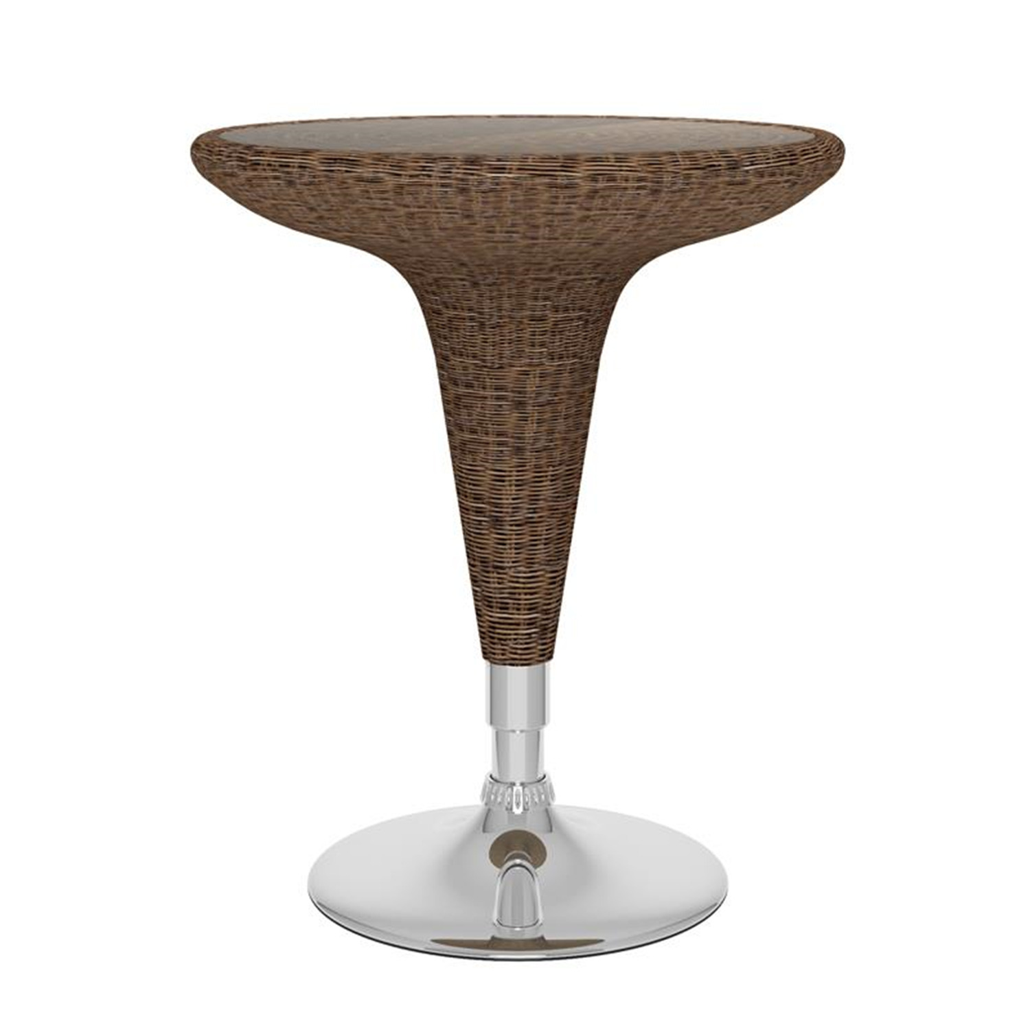 Sonax CorLiving Adjustable Bar Table in Varicoloured Brown Round Woven Vinyl
