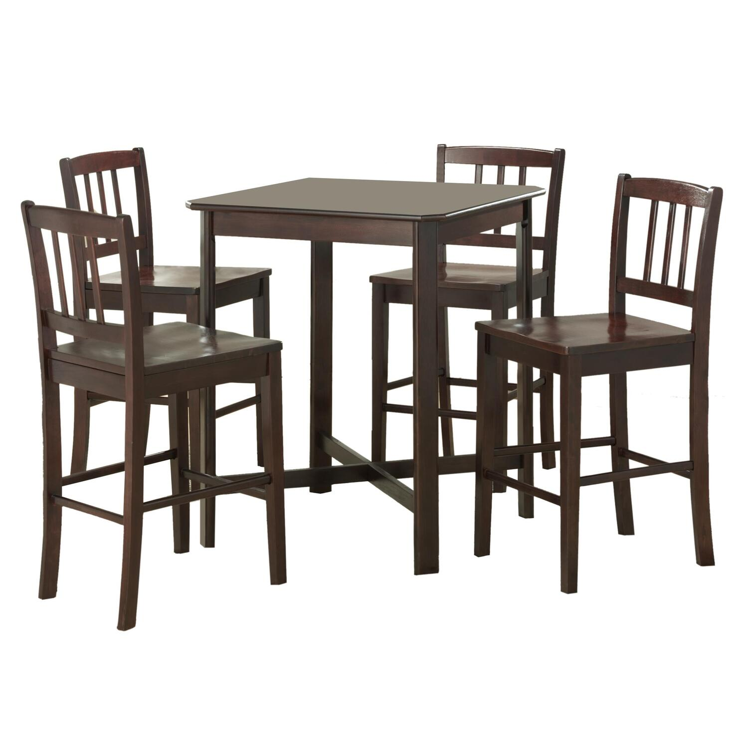 5 piece solid wood pub table set dark wood ojcommerce. Black Bedroom Furniture Sets. Home Design Ideas