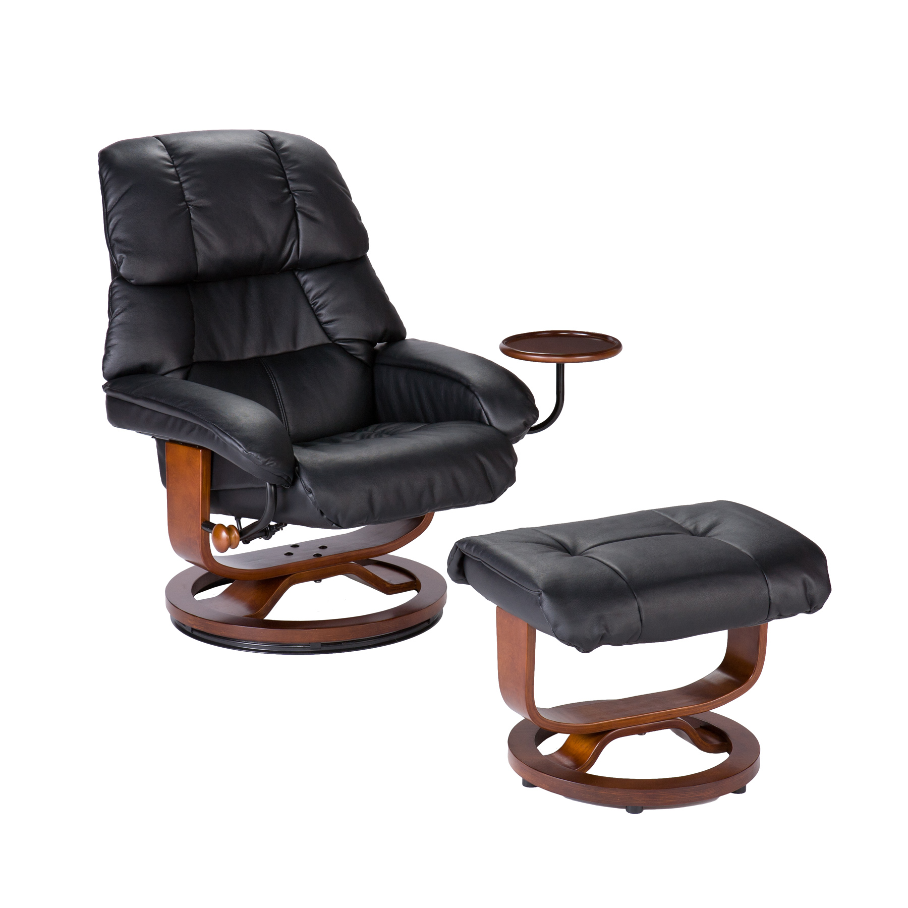 Small Chair With Ottoman: Southern Enterprises Modern Leather Recliner And Ottoman
