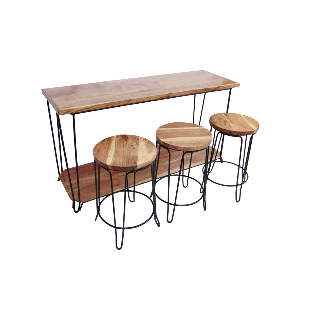 Remarkable Benzara The Urban Port 4 Piece Bar Dining Set Rectangular Table With 3 Round Stools Brown And Black Andrewgaddart Wooden Chair Designs For Living Room Andrewgaddartcom