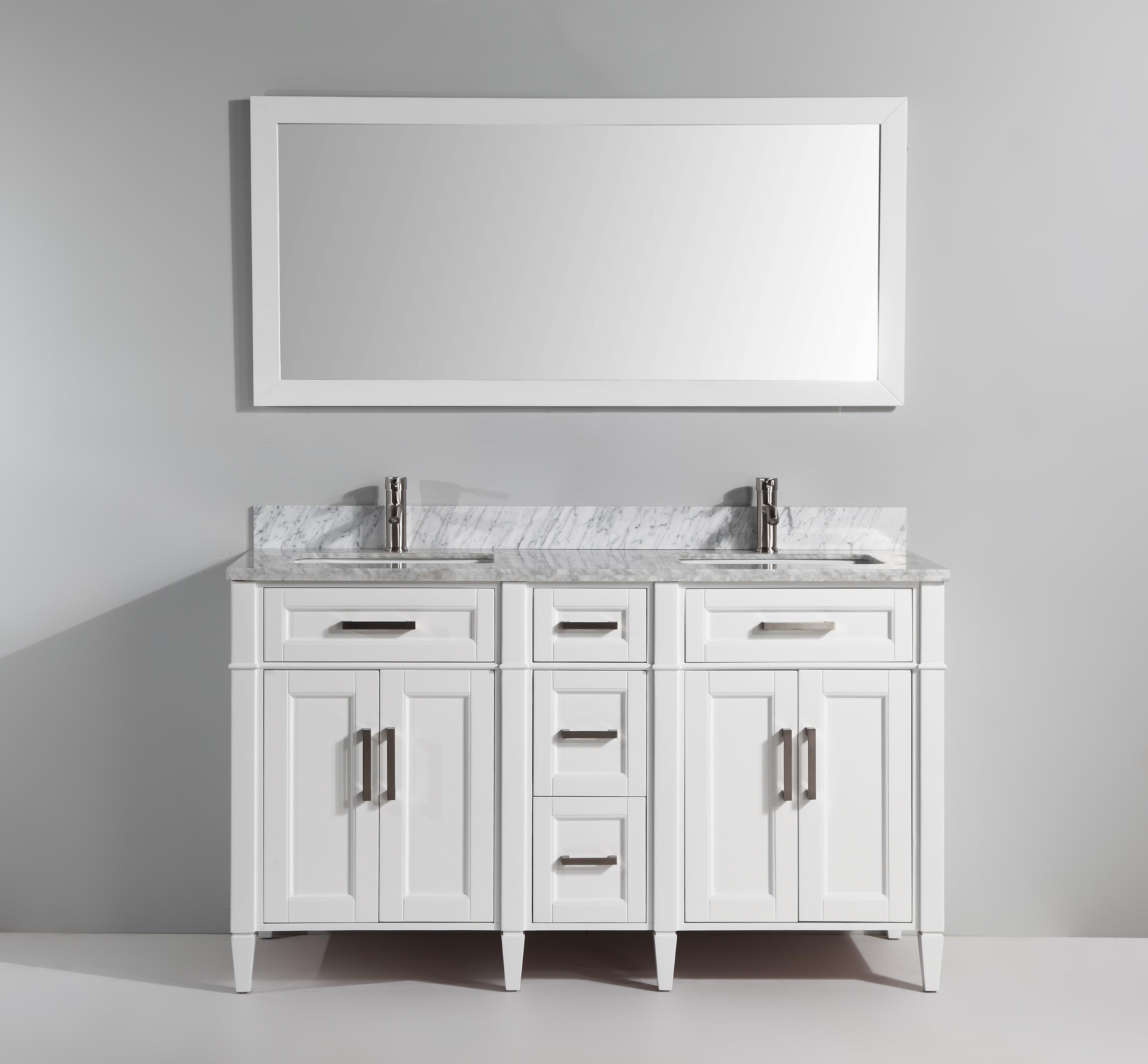 Vanity Art 60 Inch Double Sink Bathroom Vanity Set With Carrara