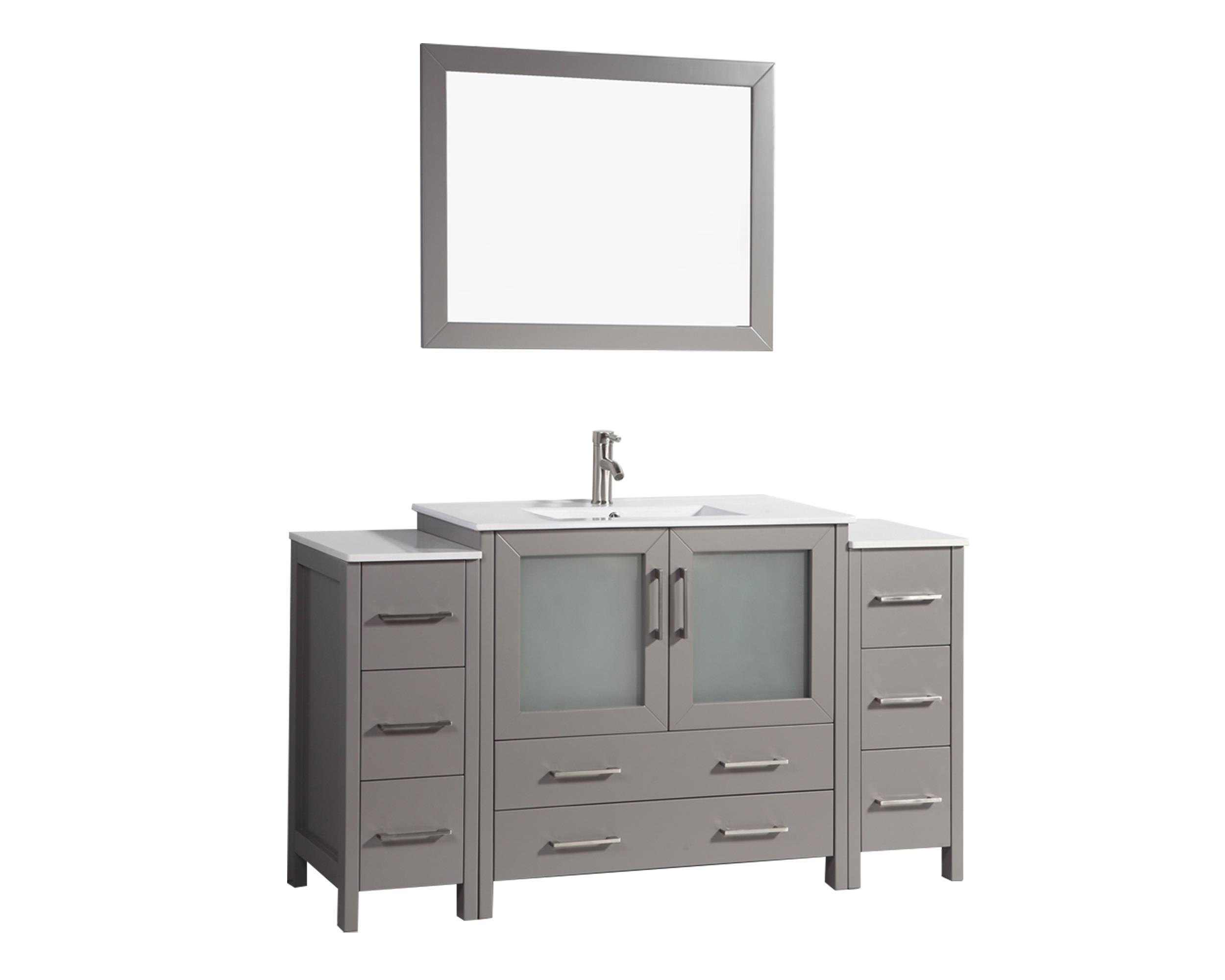 Vanity Art 60 Inch Single Sink Bathroom Vanity Set With Ceramic