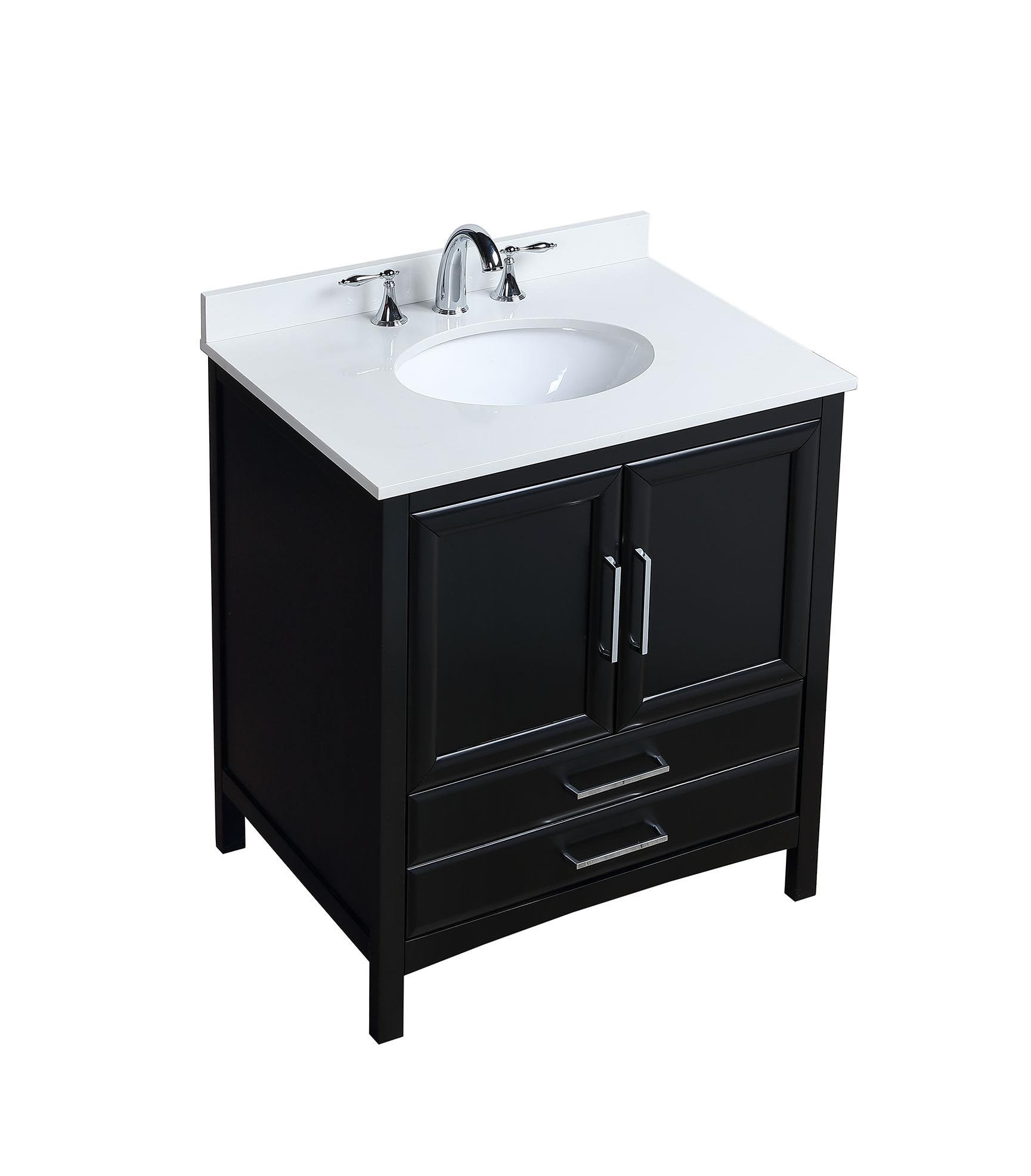 Vanity Art 30 Inch Single Sink Bathroom Set With Cultured Marble Top And Ceramic