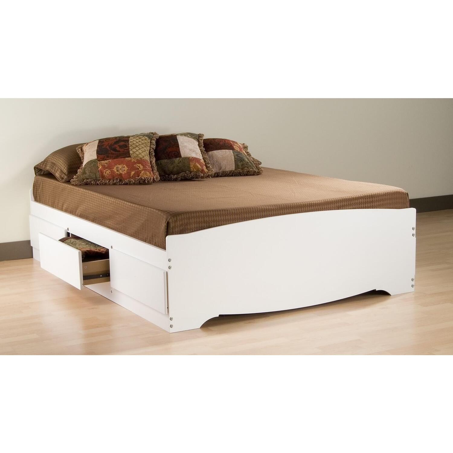 Monterey White Queen Bookcase Platform Storage Bed 528