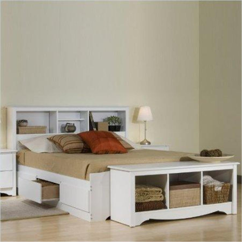 Monterey White Queen Bookcase Platform Storage Bed Wbq 6200 Kit