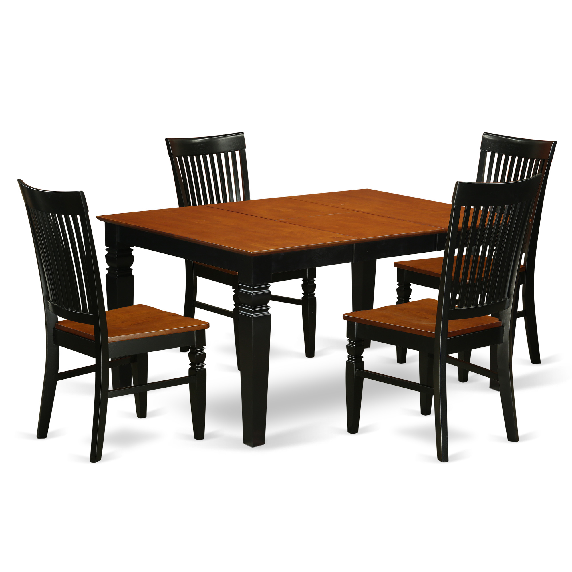 East West Furniture WEST5-BCH-W 5 Pc set with a Rectangle Table and 4 Wood  Seat Dinette Chairs in Black and Cherry, Wood Seat, Black & Cherry, ...
