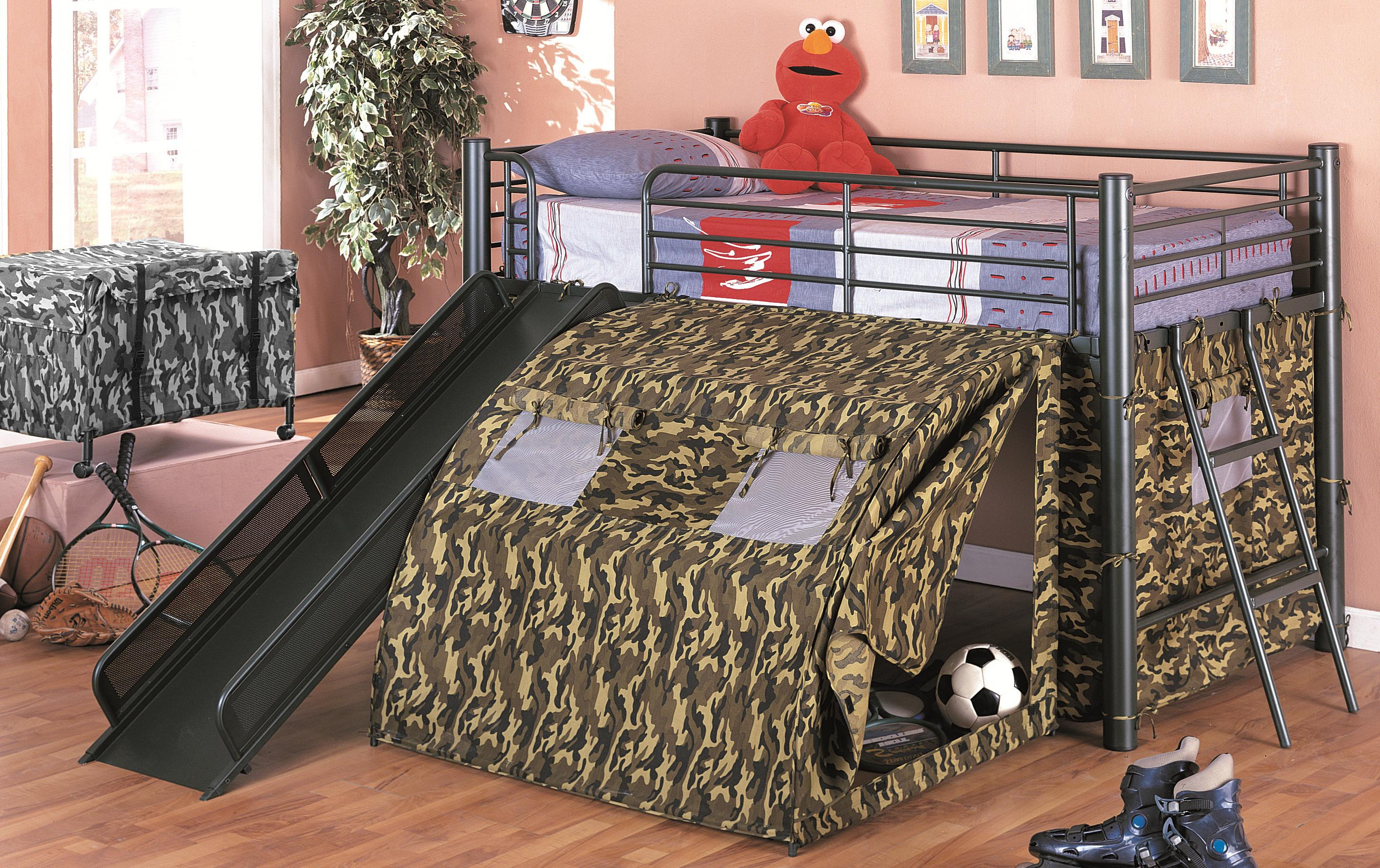 Metal bunk bed with slide - G I Bunk Bed With Slide And Tent