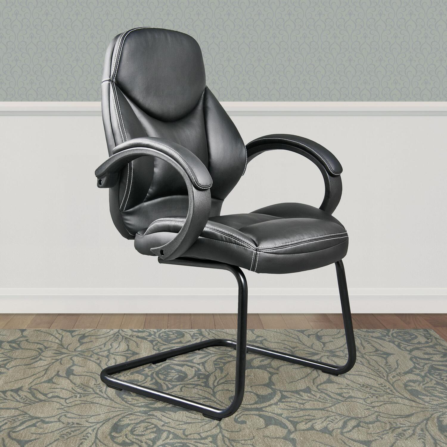 Corliving Whl 400 C Black Bonded Leather Office Guest Chair
