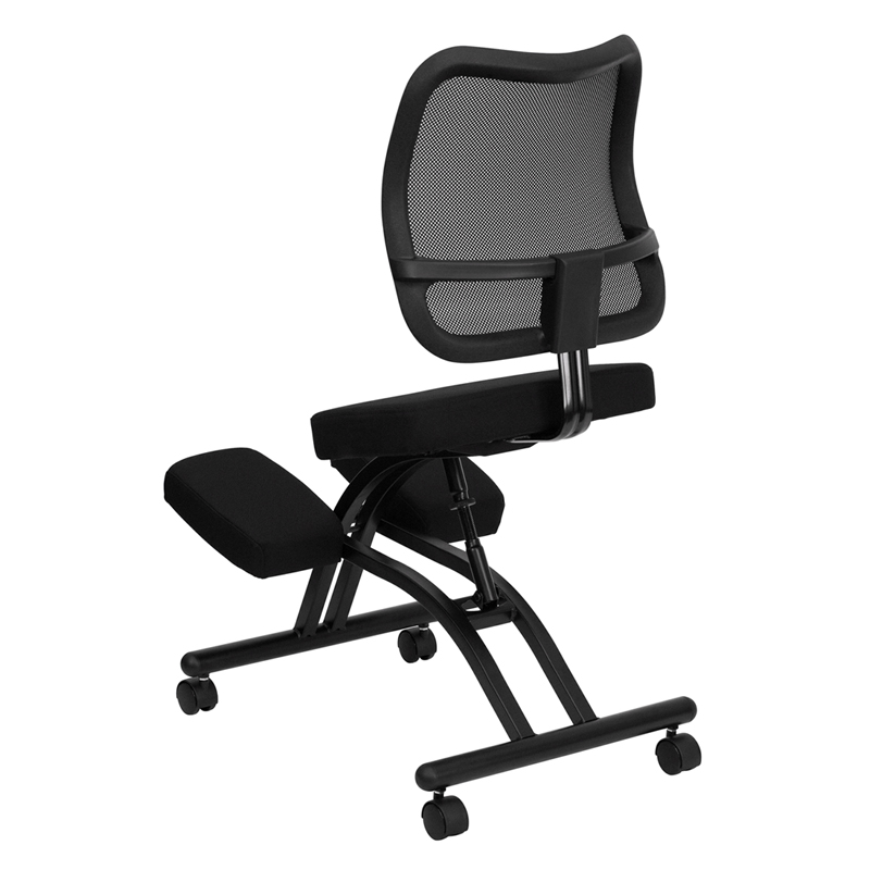 mobile ergonomic kneeling chair with mesh back