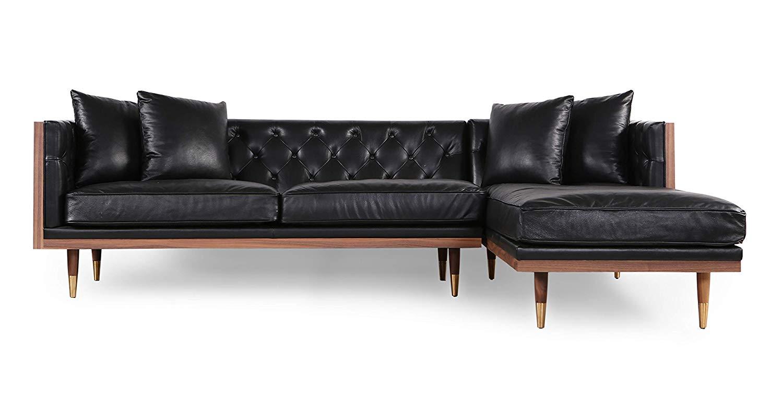 Kardiel Woodrow Neo Classic Sofa Sectional, Black/Walnut, Right Facing