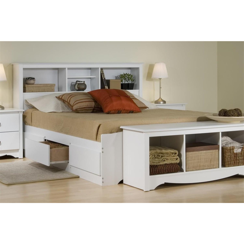 Prepac Platform Storage Bed W Bookcase Headboard By Oj