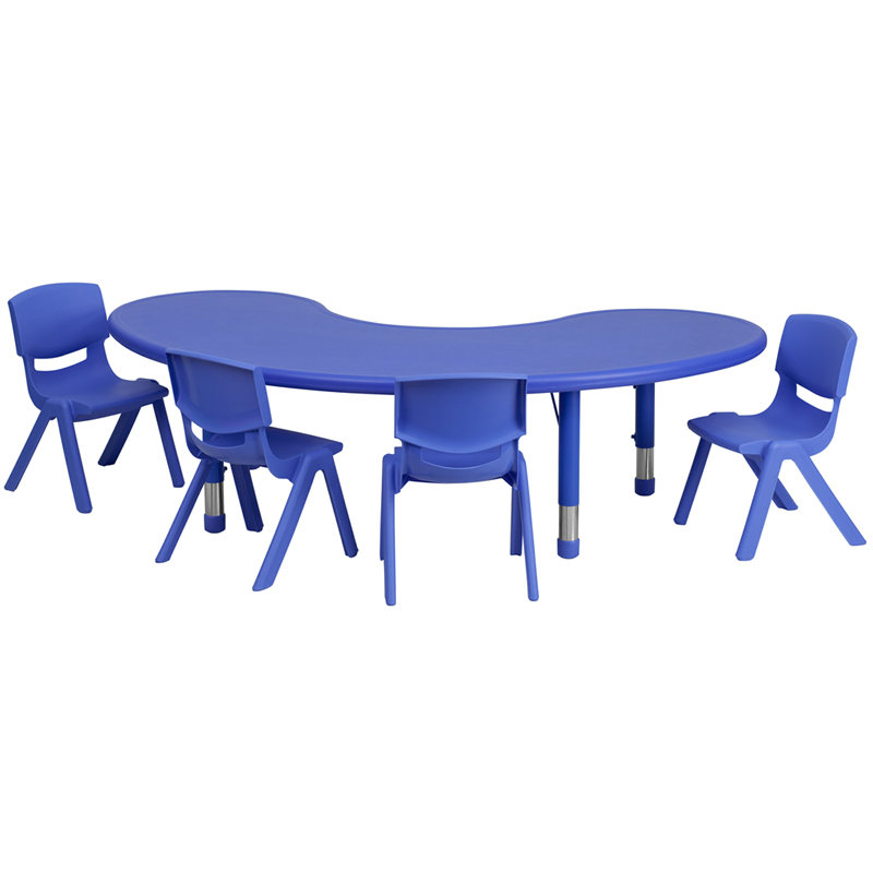 Flash Furniture Half-Moon Height Adjustable Activity Table Set - [YU-YCX-0043-2-MOON-TBL-RED-E-GG]