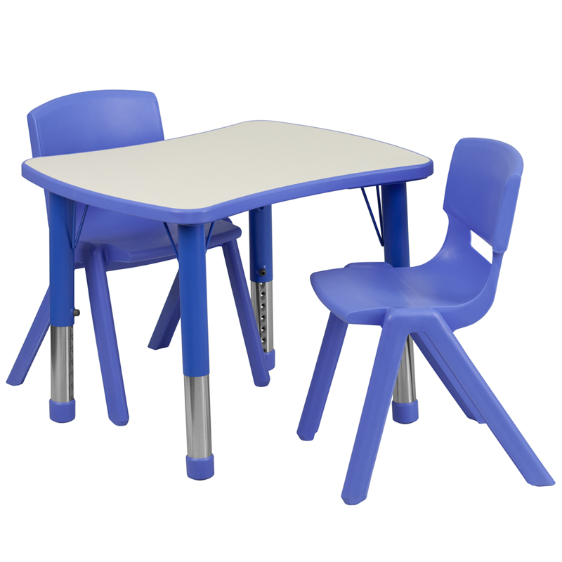 Flash Furniture Rect Height Adjustable Activity Table Set - [YU-YCY-098-0032-RECT-TBL-BLUE-GG]