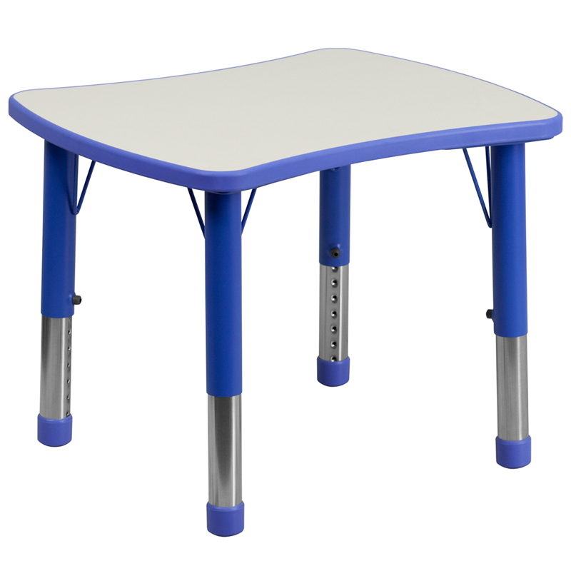 Flash Furniture Rectangular Height Adjustable Activity Table With Top [Item # YU-YCY-098-RECT-TBL-BLUE-GG]