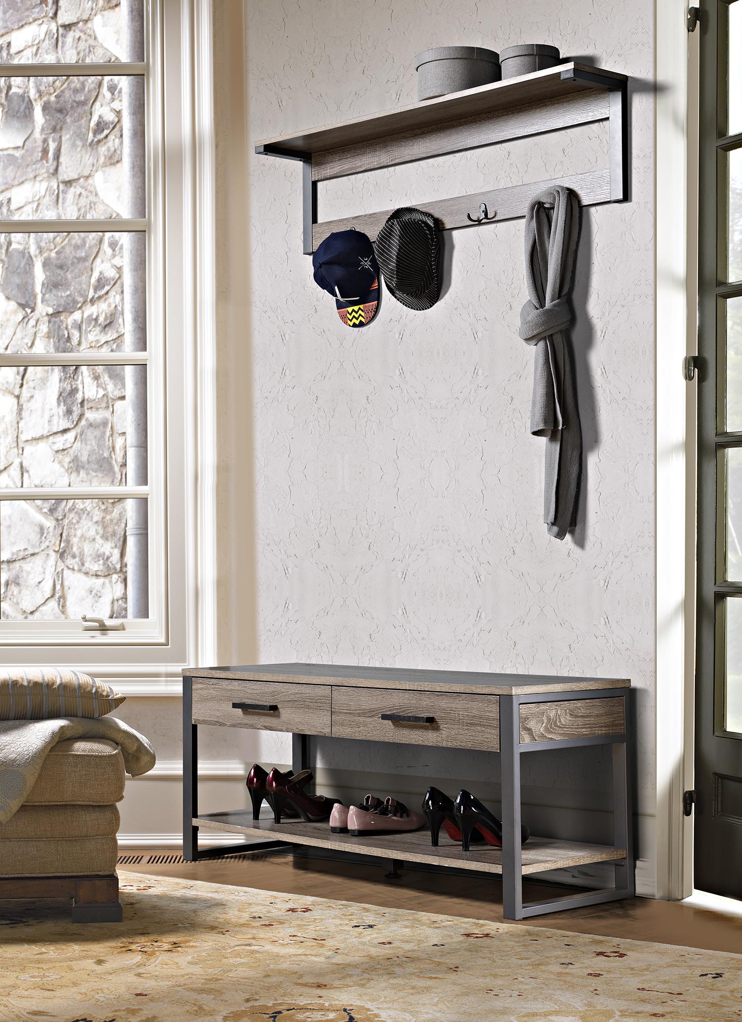 Homestar 1 Shelf/4-Hook Wall Mounted Entry Way Coat Rack - [Z1510464]
