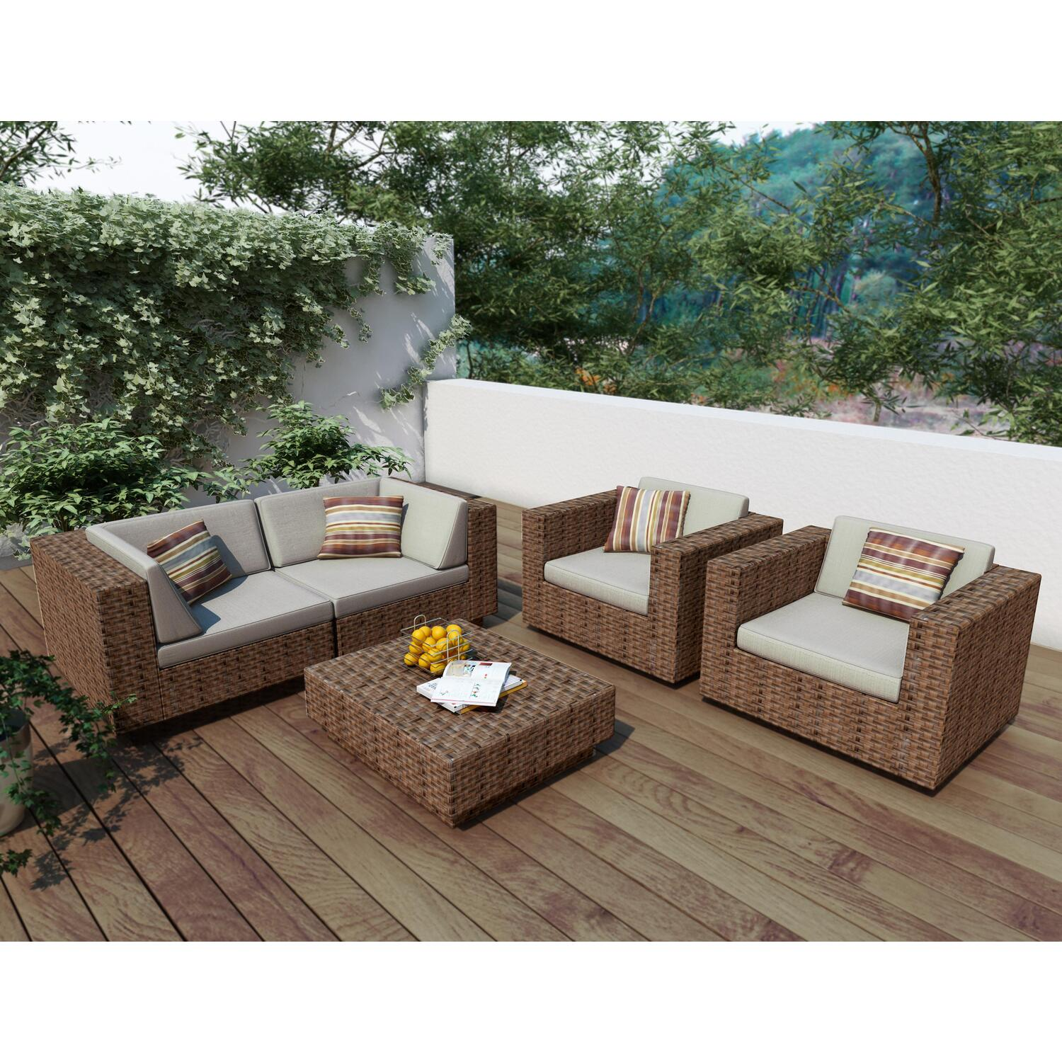Park terrace 5 piece sofa patio set ojcommerce for Outdoor patio couch set