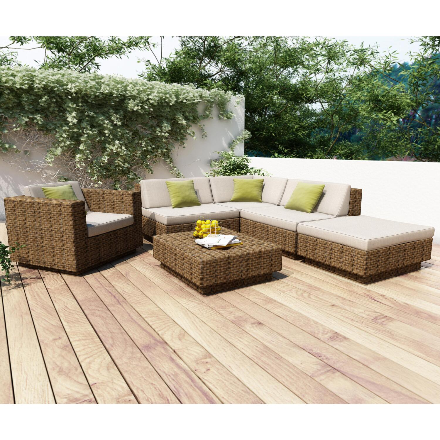 Park terrace 6 piece sectional patio set ojcommerce for Patio furniture sets