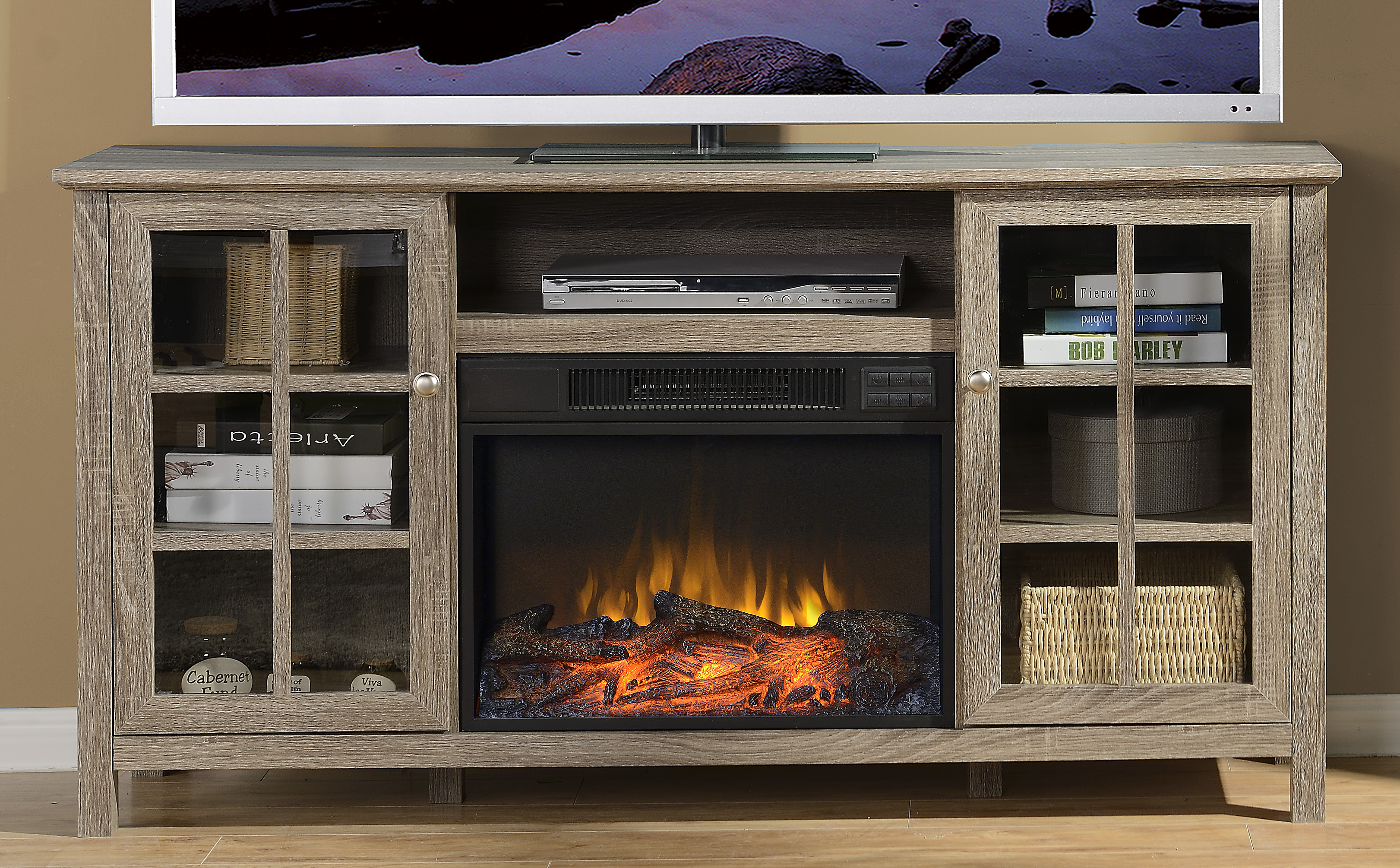 Provence 60 in. Wide Media Fireplace in Reclaimed Wood - [ZK1PROVENC]
