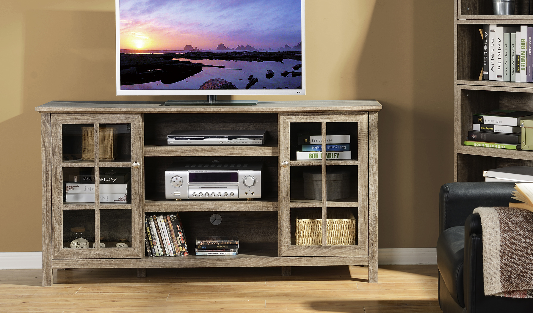 Provence 60 in. Wide Media Stand in Reclaimed Wood - [ZPROVENCE]